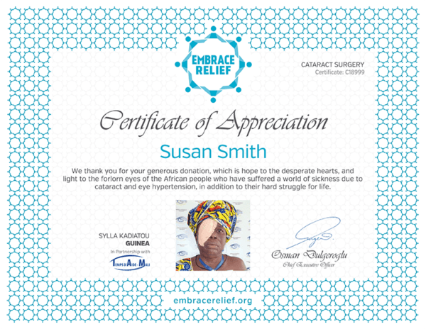 Embrace Relief - Cataract Surgery Certificate of Appreciation